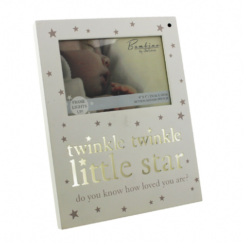 Baby Light Up Photo Frame Motion Sensor Wall or Table Mount for Babys Room - Twinkle Twinkle